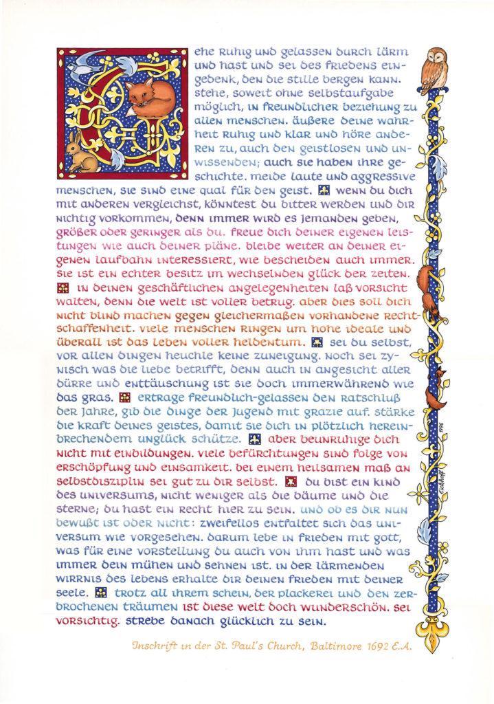 Atelier Elke Eickhoff - Text Desiderata als Poster