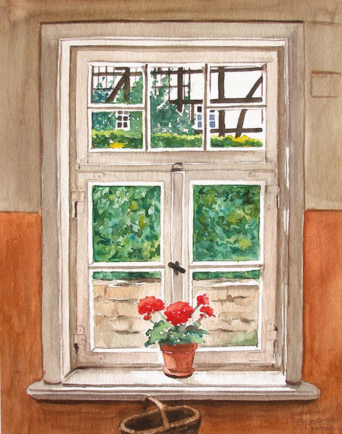Atelier Elke Eickhoff - Aquarell Fenster zum Hof