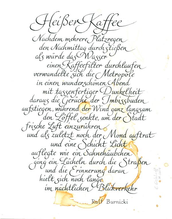 Atelier Eickhoff - Kalligraphie Kaffeegedicht